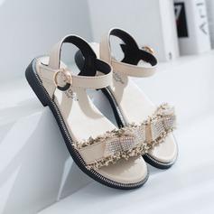 tytön Peep toe slingback tekonahka Flat Heel Sandaalit Matalakorkoiset Flower Girl Kengät jossa Tarranauha Kristalli