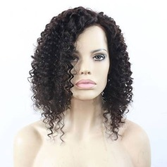 4A non remy Kinky Curly Cheveux humains Perruques avant en dentelle