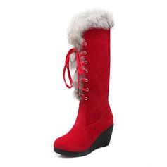 De mujer Ante Tipo de tacón Cerrados Cuñas Botas longitud media zapatos