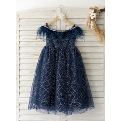 A-Line Tea-length Flower Girl Dress - Tulle Short Sleeves Off-the-Shoulder With Feather