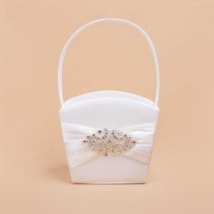 Hermoso Cesta de flores en Satén con Diamantes de imitación