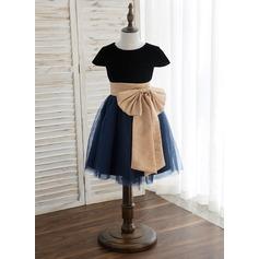 Forme Princesse Longueur genou Robes à Fleurs pour Filles - Tulle Sans manches Col rond avec Ceintures/À ruban(s)
