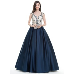 Ball-Gown Sweetheart Floor-Length Satin Prom Dress With Beading Sequins (018113760)