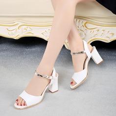 Frauen PU Stämmiger Absatz Sandalen Absatzschuhe Peep Toe Slingpumps mit Schnalle Schuhe