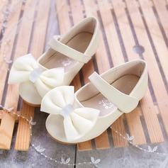 Jentas Round Toe Microfiber Lær flat Heel Flate sko Flower Girl Shoes med Bowknot Velcro