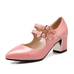 Women's Leatherette Chunky Heel Pumps Closed Toe With Split Joint shoes (085102872)