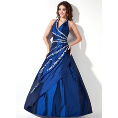 A-Line/Princess Halter Floor-Length Taffeta Quinceanera Dress With Beading Sequins
