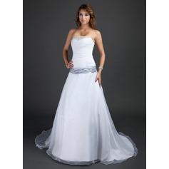 A-Line/Princess Strapless Court Train Organza Wedding Dress With Ruffle Sash Beading