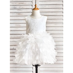 Ball Gown Knee-length Flower Girl Dress - Organza/Lace Sleeveless Scoop Neck With Ruffles (010091892)