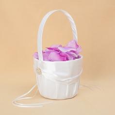 Kaunis Flower Basket sisään Satiini jossa Keula