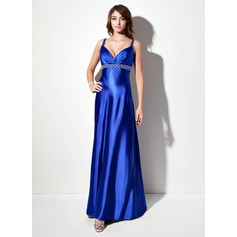 Empire V-neck Sweep Train Charmeuse Prom Dress With Ruffle Beading