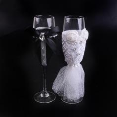 Bruden og Brudgommen Skåle Glass Sett med Bånd bue/Rhinestone/Blomst(er) (Sett Av 2)