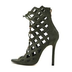 Women's Suede Stiletto Heel Boots Peep Toe Ankle Boots With Lace-up Hollow-out shoes