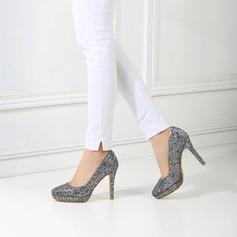 Frauen Funkelnde Glitzer Stöckel Absatz Absatzschuhe Plateauschuh mit Pailletten Schuhe