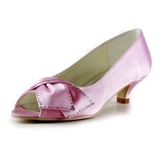 Frauen Satiniert Niederiger Absatz Peep Toe Sandalen mit Flakem Straß