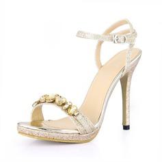 Mulheres Espumante Glitter Salto agulha Sandálias Peep toe Sapatos abertos com Strass Fivela sapatos