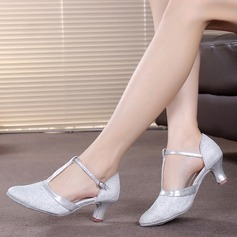 De mujer Brillo Chispeante Tacones Sala de Baile con Tira T Zapatos de danza