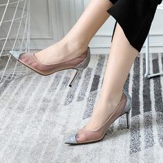 Vrouwen Sprankelende Glitter Mesh Stiletto Heel Pumps Closed Toe schoenen