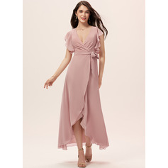 A-Line V-neck Asymmetrical Chiffon Bridesmaid Dress With Ruffle (007233669)