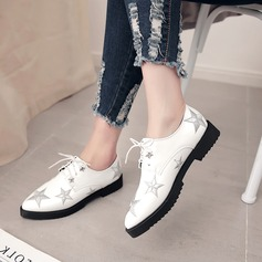 Women's Leatherette Flat Heel Flats Closed Toe With Lace-up Others shoes