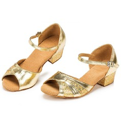 Kids' Sparkling Glitter Heels Sandals Latin With Buckle Dance Shoes