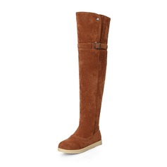 Women's Suede Flat Heel Flats Closed Toe Boots Over The Knee Boots Snow Boots With Buckle shoes