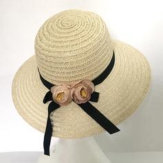 Señoras' Hermoso Ratán paja con Flores de seda Sombrero de paja