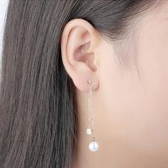 Exquis Pearl/Cuivre/Zircon de avec Zircon cubique Boucles d'oreilles