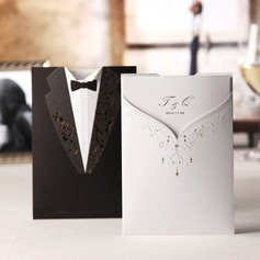 Personalized Bride And Groom Embossed Paper Invitation Cards  (114038996)