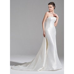 Trumpet/Mermaid Strapless Watteau Train Satin Wedding Dress With Beading Sequins (002075646)
