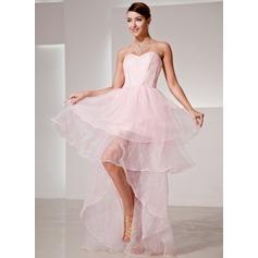 A-Line/Princess Sweetheart Asymmetrical Organza Prom Dress