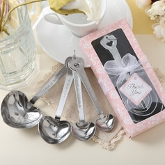"""Love Beyond Measure"" Heart Shaped Stainless Steel Spoon Set With Ribbons/Tag (051005522)"