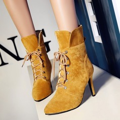 Women's Suede Stiletto Heel Boots Mid-Calf Boots With Lace-up shoes
