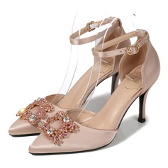Women's Satin Spool Heel Closed Toe With Crystal