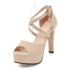 Kvinder Ruskind Stiletto Hæl sandaler Pumps Platform Kigge Tå med Spænde sko