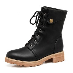 Women's Leatherette Low Heel Boots Mid-Calf Boots Martin Boots With Lace-up shoes