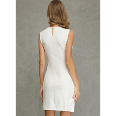 Sheath/Column Scoop Neck Short/Mini Polyester Cocktail Dress With Lace