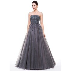 Ball-Gown/Princess Strapless Floor-Length Tulle Prom Dresses With Beading Appliques Lace Flower(s) Sequins (018056632)