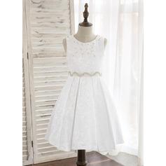 Forme Princesse Longueur genou Robes à Fleurs pour Filles - Polyester Sans manches Col rond avec Strass