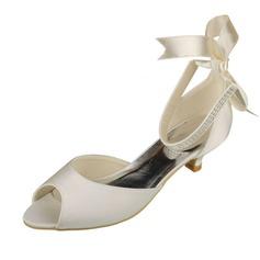 Women's Satin Kitten Heel Peep Toe Sandals With Crystal