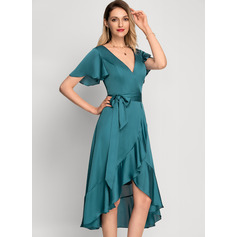 A-Line V-neck Asymmetrical Cocktail Dress With Bow(s) Cascading Ruffles (016212861)