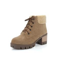 De mujer Cuero Tacón ancho Botas al tobillo Martin botas con Correa Trenzada zapatos