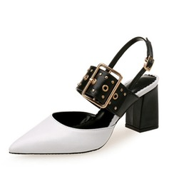 Женщины кожа Устойчивый каблук Сандалии На плокой подошве Закрытый мыс с пряжка В дырочку обувь