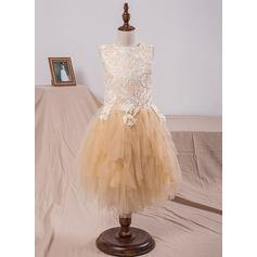 Forme Princesse Longueur mollet Robes à Fleurs pour Filles - Tulle/Dentelle Sans manches Col rond avec Motifs appliqués Dentelle