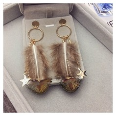 Unique Alloy Feather Ladies' Fashion Earrings