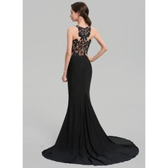 Trumpet/Mermaid Scoop Neck Sweep Train Jersey Evening Dress (017137371)