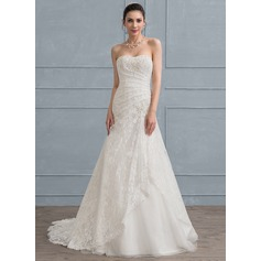 A-Line/Princess Sweetheart Sweep Train Tulle Lace Wedding Dress With Ruffle Beading Sequins (002111950)