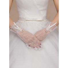 Polyester Handgelenk Länge Braut Handschuhe