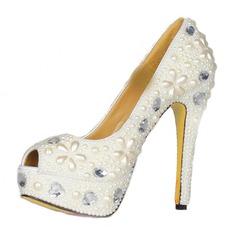 Lackskinn Stilettklack Sandaler Plattform Peep Toe med Strass Oäkta Pearl skor