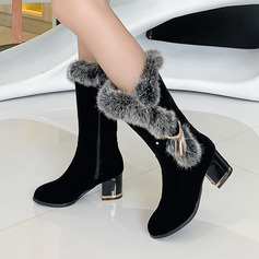 Women's Suede Leatherette Chunky Heel Mid-Calf Boots Snow Boots With Zipper shoes